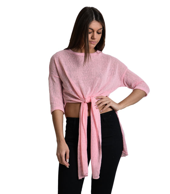 Assymetric mesh crop top with frond type (Pink)