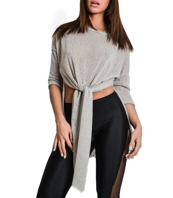 Assymetric mesh crop top with frond type (Gray)