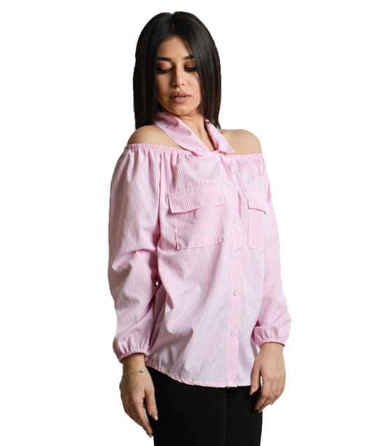 Pink striped shirt strapless with collar