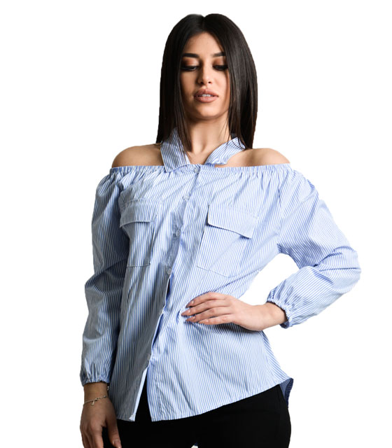 Blue striped shirt strapless with collar