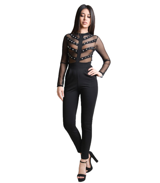 Black jumpsuit with sliver studs