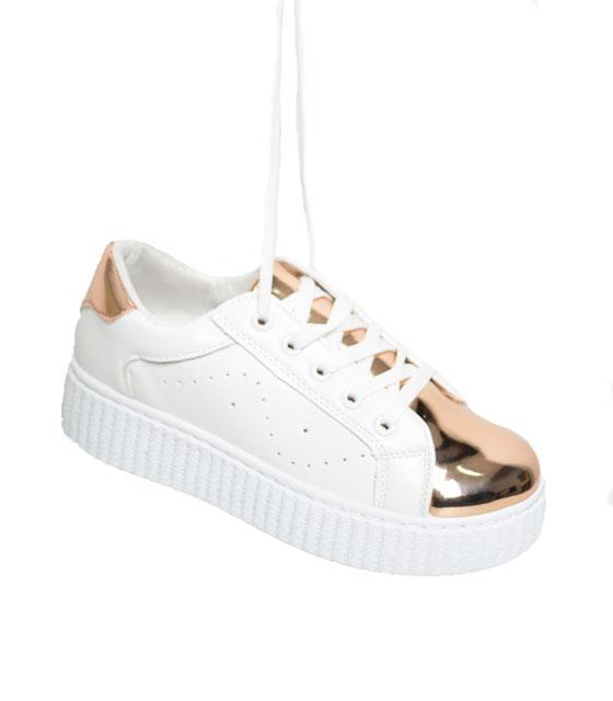 Sneaker με λουστρίν λεπτομέρεια Σαμπανί