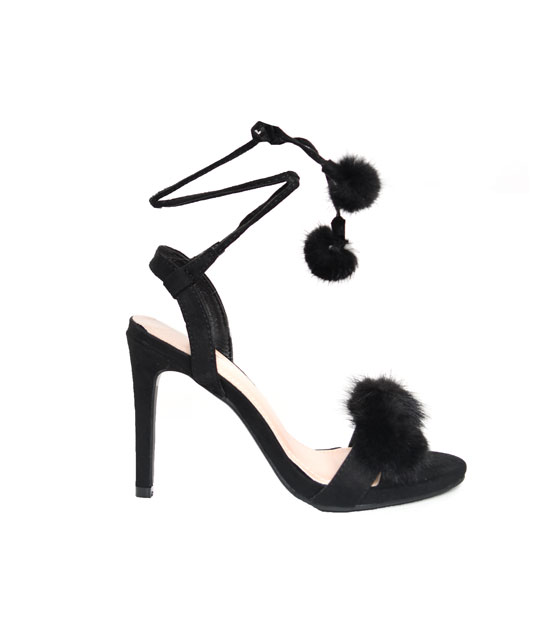 Foz fur lace up heels (Black)