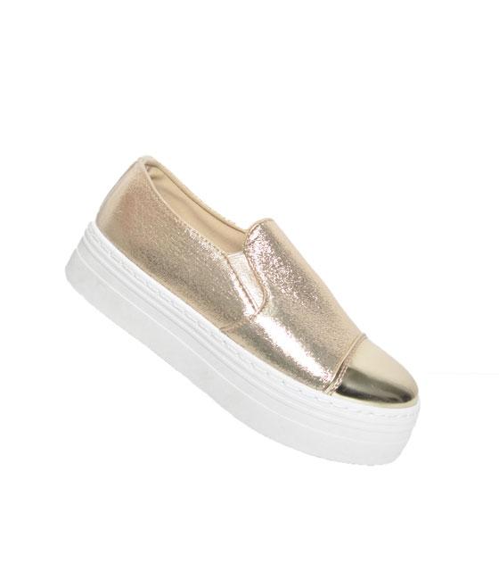 Sneaker δίπατο χρυσό slippers