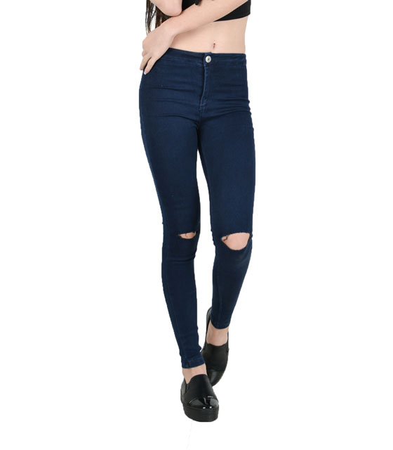 High waisted jeans with two ripped knees
