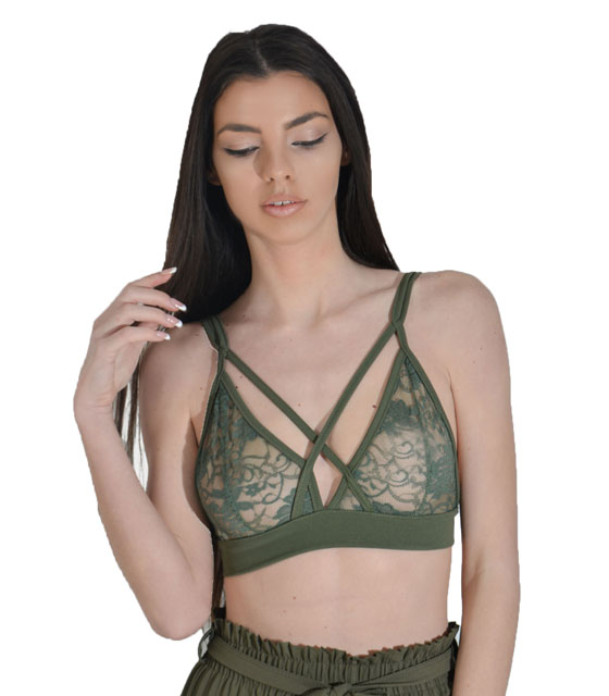 Strappy lace green bralette