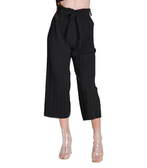 Πλισέ ζιπ κιλότ (Μαύρη) ρούχα   bottoms   παντελόνια