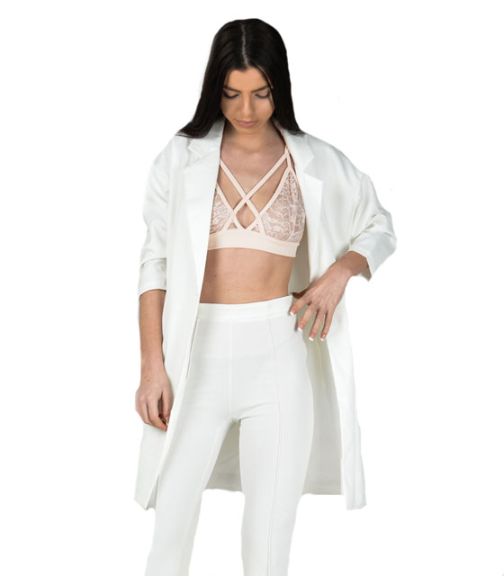 White longline blazer 3/4 sleeve