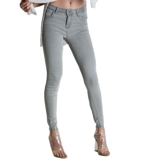 Elastic slim fit jeans (Light Gray)