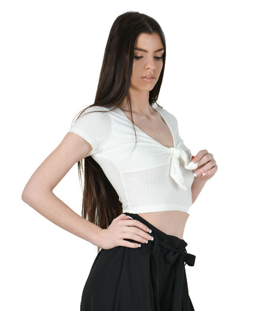 Halter ribbed top with front tie (White)