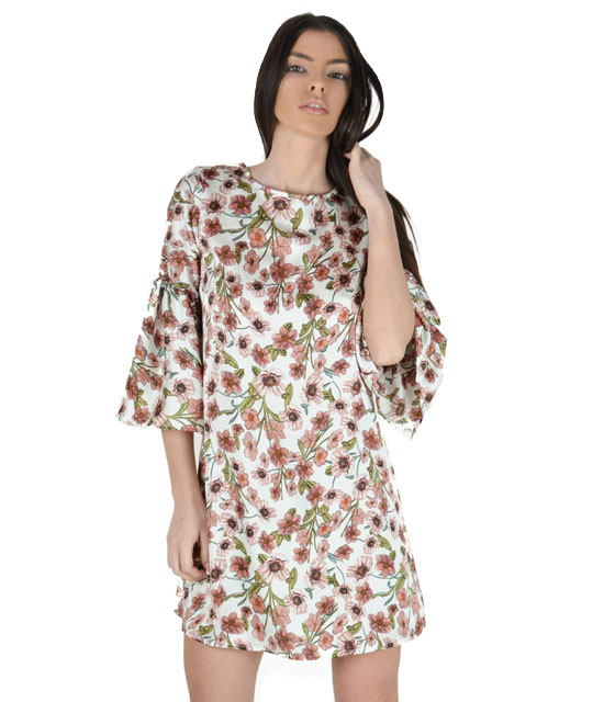 White floral dress with flared sleeves