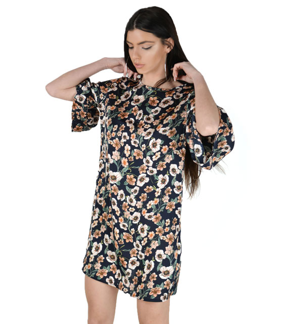Blue floral dress with flared sleeves