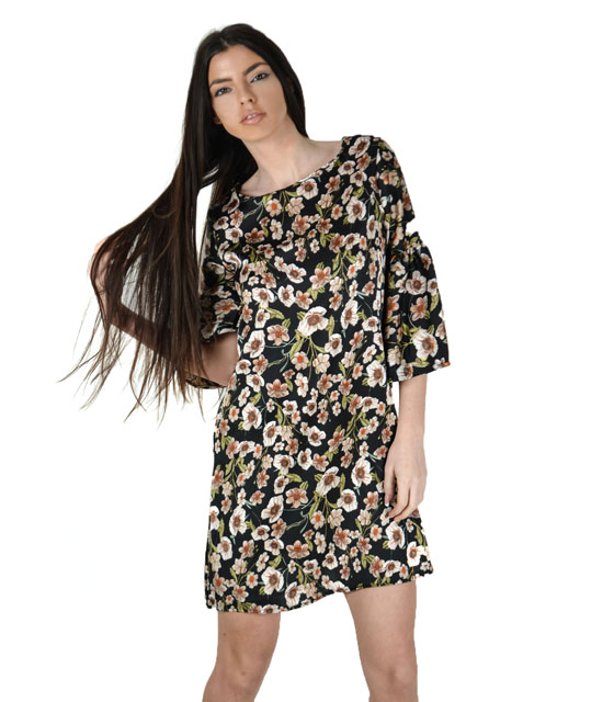 Black floral dress with flared sleeves
