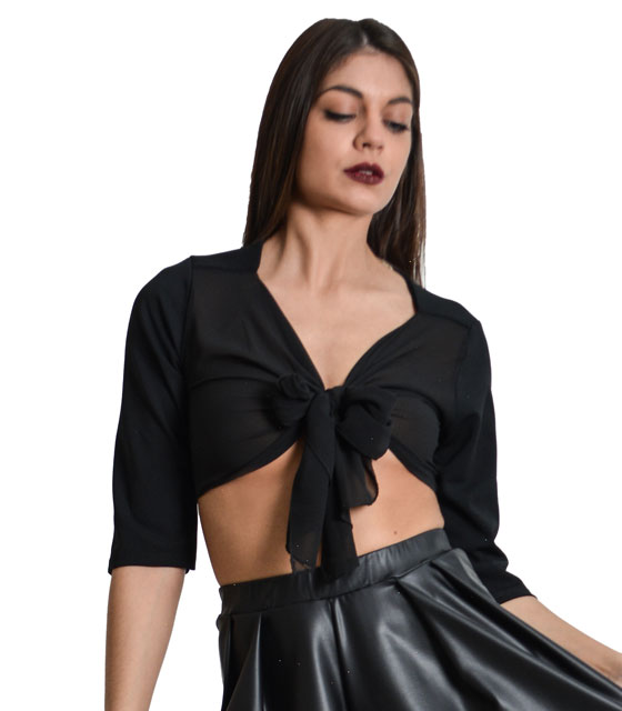 Black crop top with mesh details and front tie