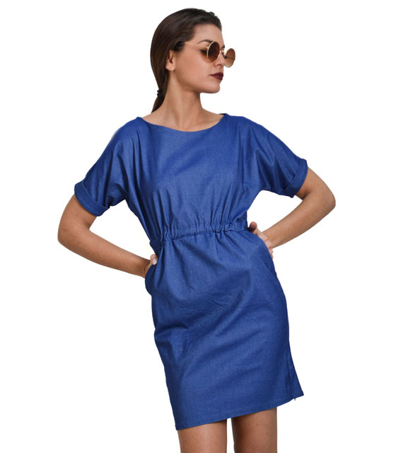 Elastic jeans mini dress with pockets