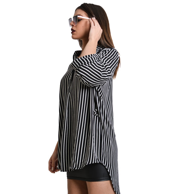 Black striped shirt with mandarin collar and rolled tab sleeves