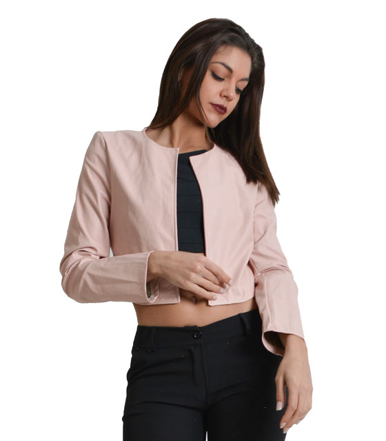 Pink leather jacket top