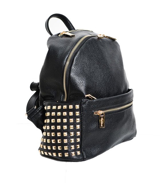 Backpack with gold studs (Black)