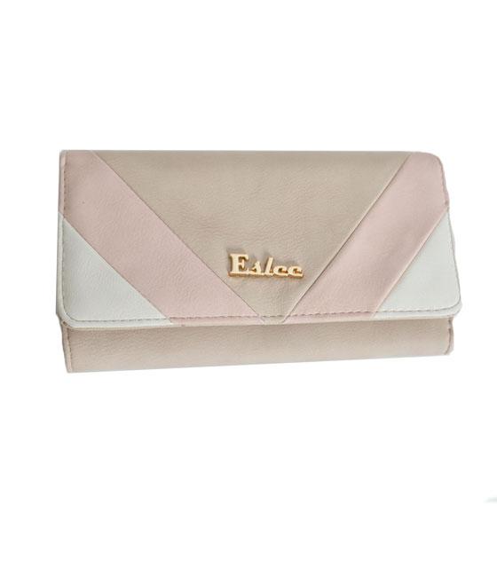 Faux leather wallet tricolour beige