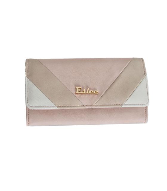 Faux leather wallet tricolour pink