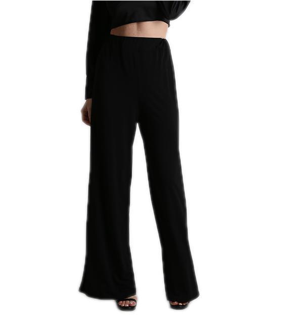 Παντελόνα μαύρη φαρδιά ελαστική ψηλόμεση ρούχα   bottoms   παντελόνια