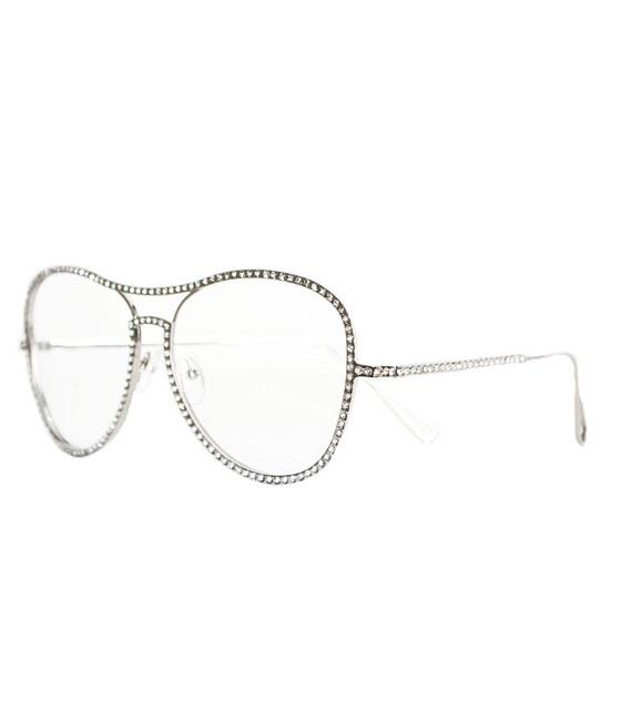 Ασημί με στρας μεταλλικά γυαλιά με διαφανές φακό