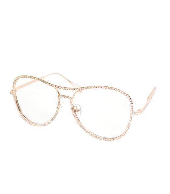 Χρυσά με στρας μεταλλικά γυαλιά με διαφανές φακό