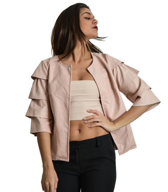 Jacket leather with wave sleeves (Pink)