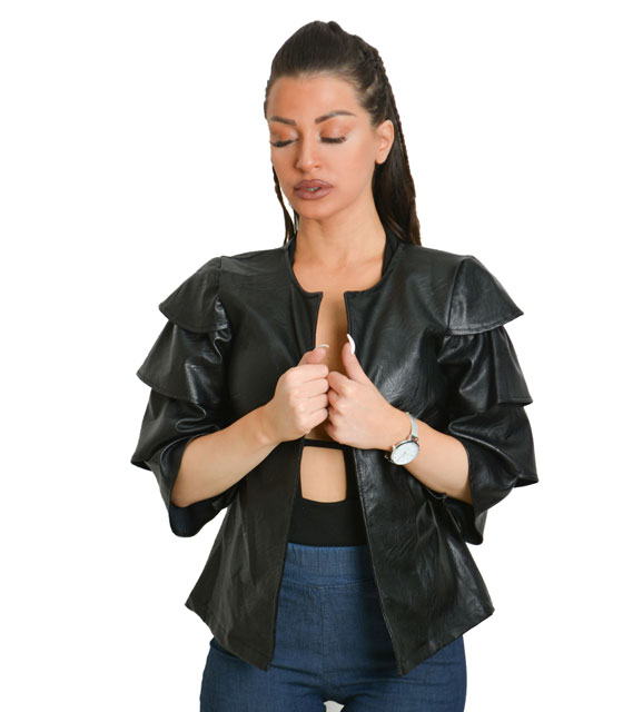 Jacket δερματίνη με φραμπαλά στο μανίκι (Μαύρο)