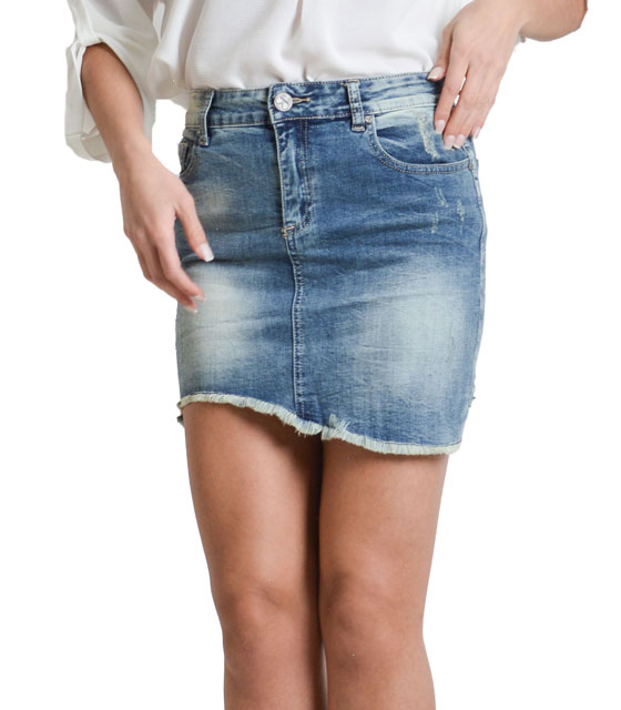 Jeans skirt with asymmetric hem and pockets