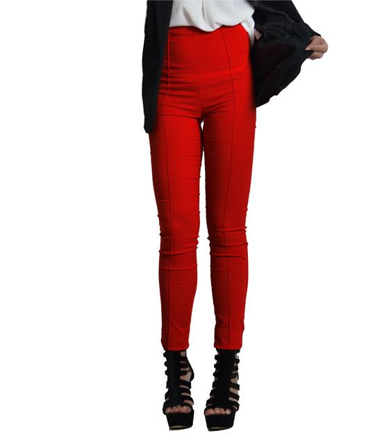 Ψηλόμεσο παντελόνι με τσάκιση (Κόκκινο)