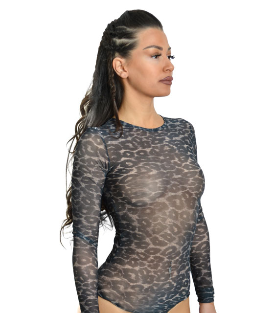 Total transparent animal print bodysuit