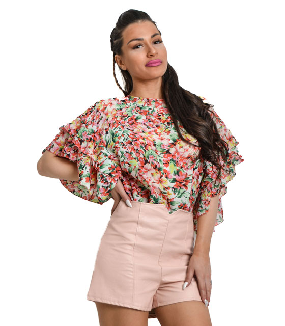 Floral blouse with wave sleeve (White)