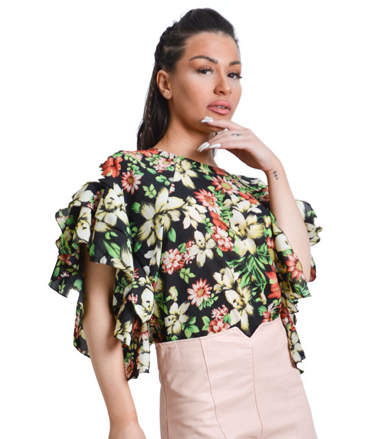 Floral blouse with wave sleeve (Black)