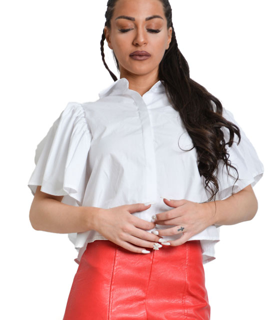 White top shirt with ruffles on the sleeves and tie back