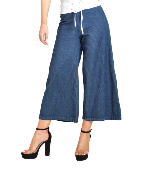 Denim jupe culottes with zipper