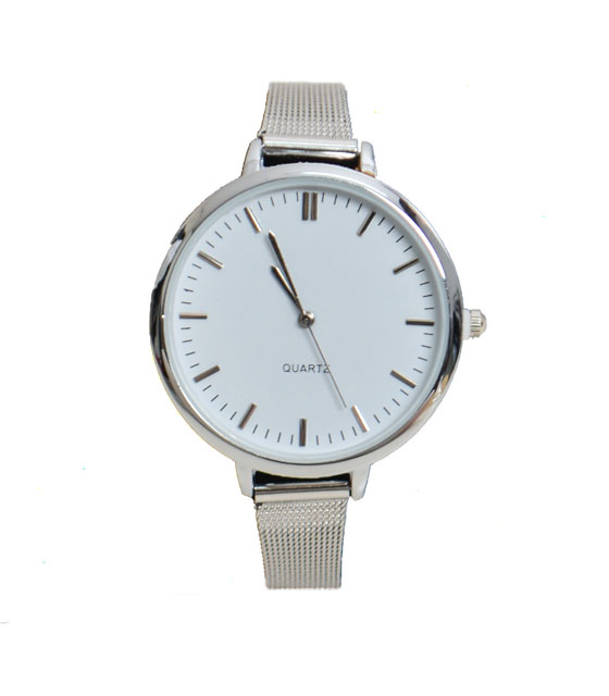 Metal watch with white dial and thin strap (Silver)