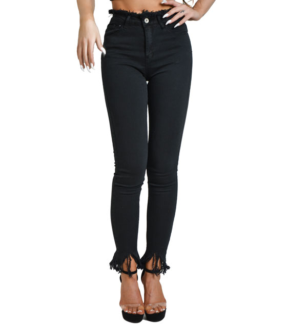 Black tight jeans with asymmetric frayed hem