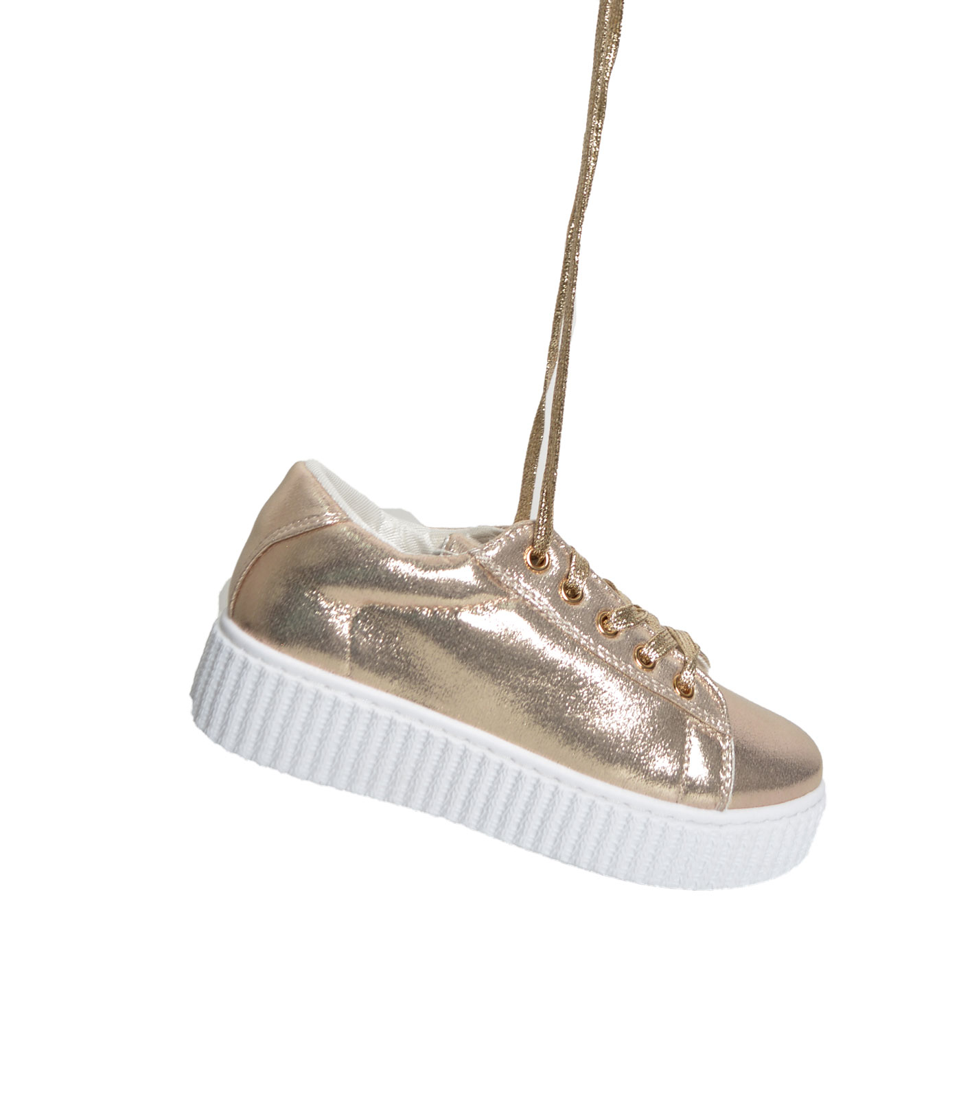 Gold sneaker with white soles