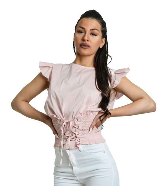Ροζ μπλούζα κορσές
