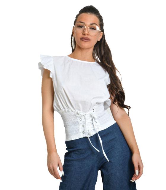 Λευκή μπλούζα κορσές