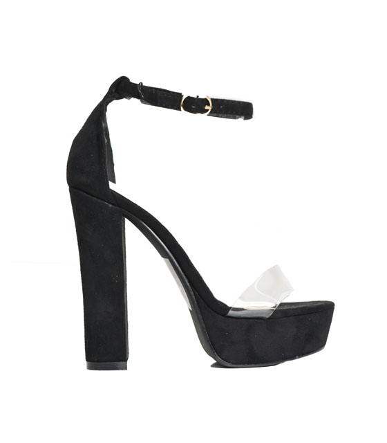 High sandals with mesh details (black)