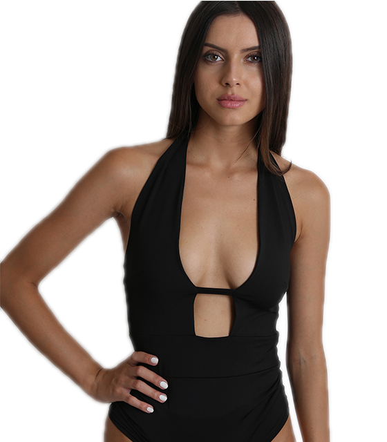 Black bodysuit with chest cut
