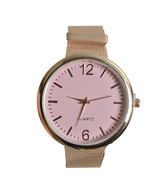 Metal watch with pink dial and strap (Champagne)