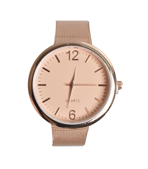 Metal watch with beige dial and strap (Champagne)