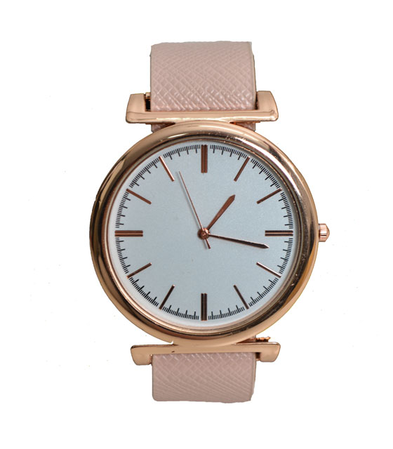 Watch with faux leather strap