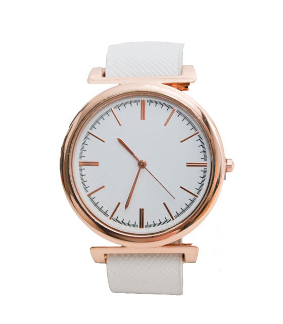 Watch with faux leather strap (white)
