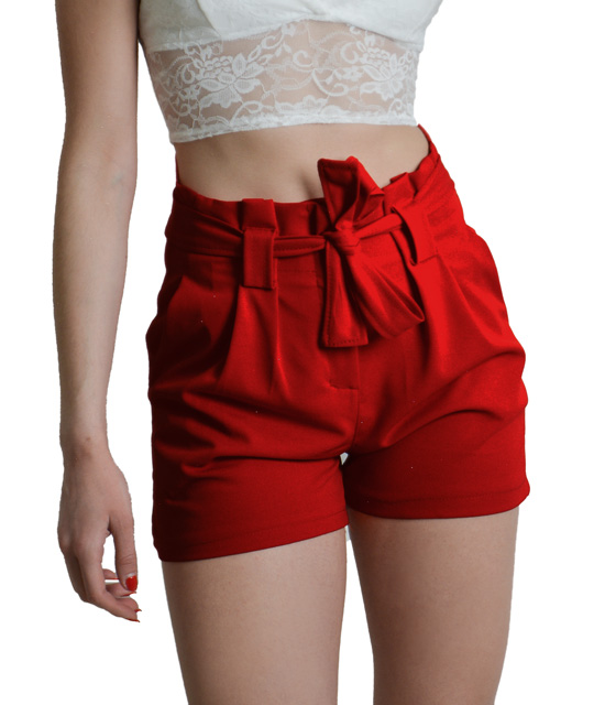 High waisted red shorts with belt