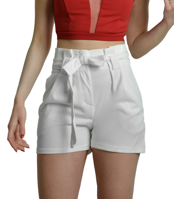 High waisted white shorts with belt