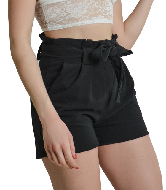 High waisted black shorts with belt